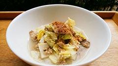 犬猫の鰯を使ったレシピ「白菜と青魚の汁かけごはん」