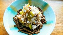 犬猫のドライフード、長寿一番を使ったレシピ「冷なすとささみの豆腐和えのせ」