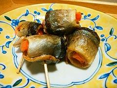 犬猫のサンマを使ったレシピ「サンマの野菜巻き」