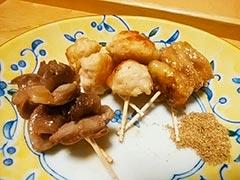 犬猫のケイズマイスターを使ったレシピ「焼き鳥三種盛り」