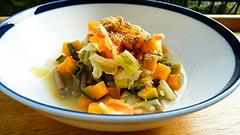 馬肉を使った犬猫の手作りご飯におすすめレシピ「フードの豆乳カボチャスープかけ」